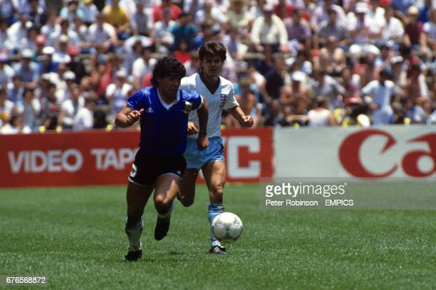 Argentina's Diego Maradona left and England's Steve Hodge right