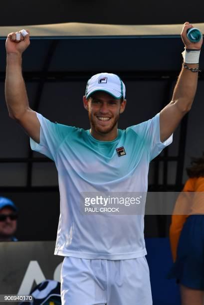 Argentina's Diego Schwartzman celebrates after victory over Ukraine's Alexandr Dolgopolov Jr during their men's singles third round match on day five...