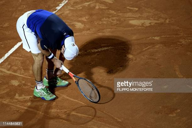 Argentina's Diego Schwartzman reacts after loosing against Serbia's Novak Djokovic during their ATP Masters tournament semi final tennis match at the...