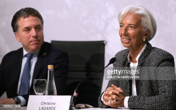 Argentina's Economy Minister Nicolas Dujovne and International Monetary Fund Managing Director Christine Lagarde offer a joint press conference in...