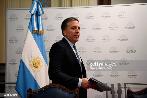 Argentina's Economy Minister Nicolas Dujovne arrives to present the 2019 Budget at the National Congress in Buenos Aires on September 17 2018...