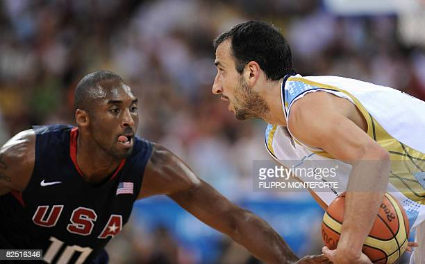 Argentina's Emanuel Ginobili vies with USA's Kobe Bryant during their men's semifinal basketball match Argentina against The US of the Beijing 2008...