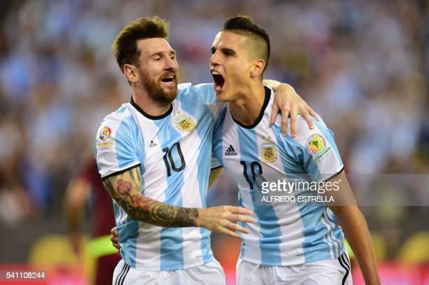 Argentina's Erik Lamela celebrates with teammate Lionel Messi after scoring against Venezuela during a Copa America Centenario quarterfinal football...