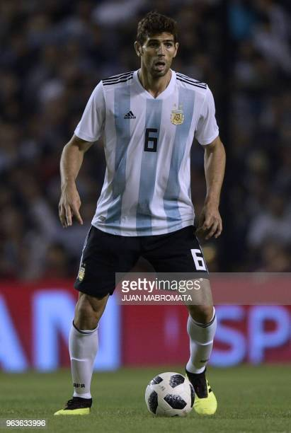 Argentina's Federico Fazio is pictured during the international friendly football match against Haiti at Boca Juniors' stadium La Bombonera in Buenos...