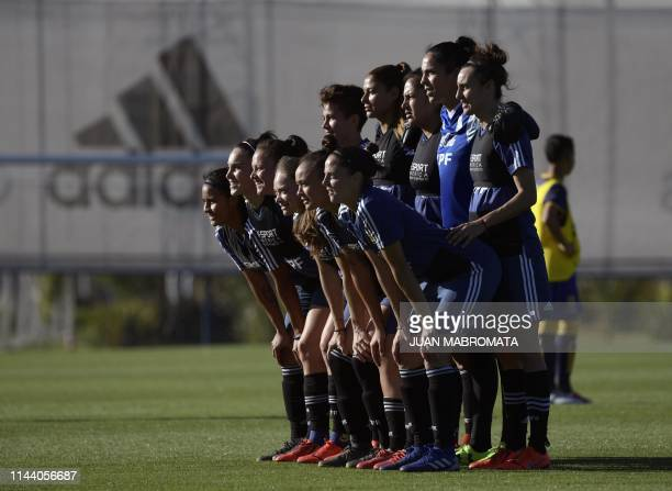 Argentina's female national team pose before a friendly football match against Atlanta's youth team in Ezeiza Buenos Aires Argentina on May 16 in...