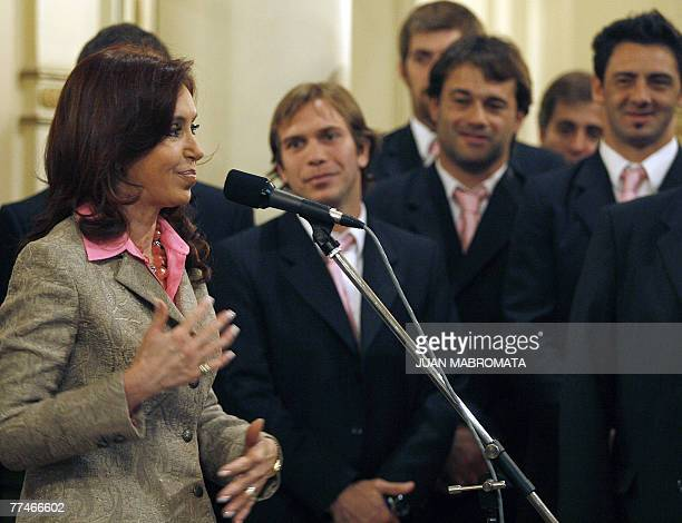 Argentina's First Lady and Senator Cristina Fernandez de Kirchner gives a speech during a meeting with the national rugby team Los Pumas team at the...