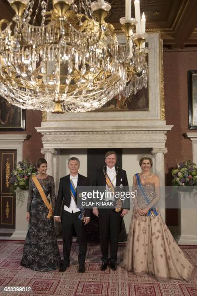 Argentina's First Lady Juliana Awada Argentina's President Mauricio Macri Netherland's King WillemAlexander and Netherland's Queen Maxima pose for an...