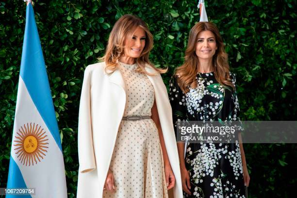 Argentina's First Lady Juliana Awada receives US First Lady Melania Trump at the Museum of Latin American Art in Buenos Aires during the G20...
