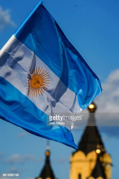 Argentina's flag waves outside the stadium prior the 2018 FIFA World Cup Russia group D match between Argentina and Croatia at Nizhniy Novgorod...