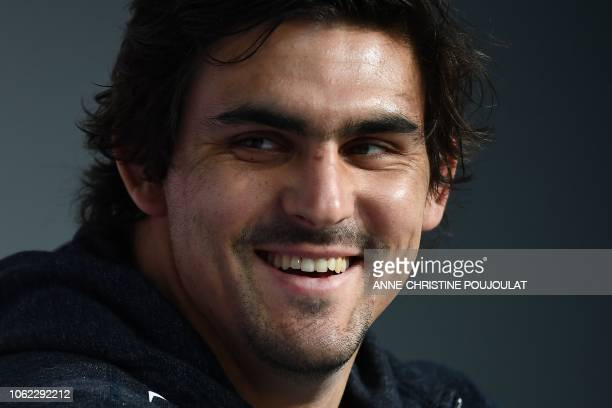 Argentina's flanker and captain Pablo Matera smiles during a press conference on November 16, 2018 at the Pierre Mauroy Stadium, in Lille, on the eve...