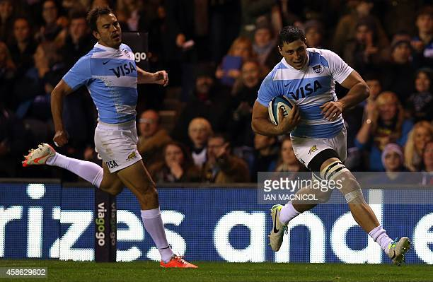 Argentina's flanker Javier Ortega Desio runs in to score the opening try of the Autumn International rugby union Test match between Scotland and...