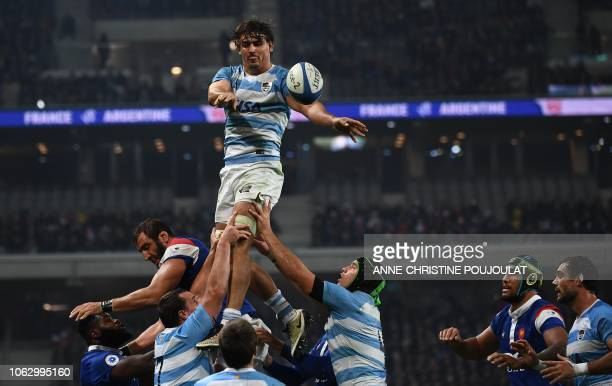Argentina's flanker Pablo Matera passes the ball from a line out during the international rugby union test match between France and Argentina at the...