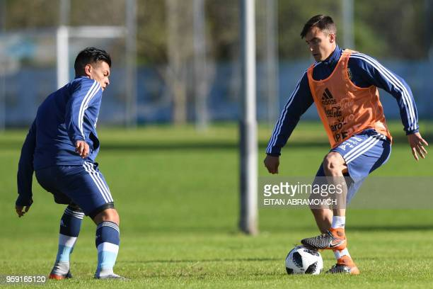 Argentina's football player Nicolas Tagliafico controls the ball during a training session in Buenos Aires on May 16 2018 ahead of the 2018 FIFA...