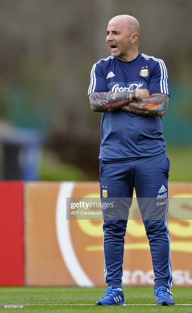 Argentina's football team coach Jorge Sampaoli gives instructions during a training session in Ezeiza, Buenos Aires on August 28, 2017 ahead of a 2018 FIFA World Cup Russia South American qualifier football match against Uruguay to be held in Montevideo on August 31. /