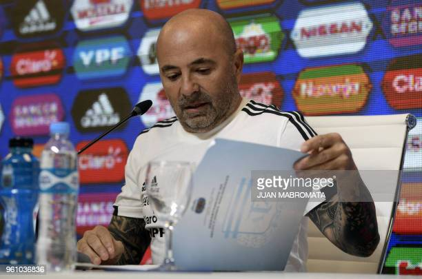 Argentina's football team coach Jorge Sampaoli offers a press conference in Ezeiza Buenos Aires on May 21 2018 to announce the 23men squad for the...