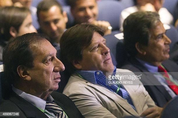 Argentina's football team former head coach Carlos Bilardo Mexico's coach Miguel Herrera and former Costa Rican head coach Jorge Luis Pinto...