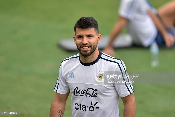 Argentina's footballer Sergio Aguero during the training session at the Atletico Mineiro Training Center in Vespasiano Minas Gerais Brazil on...