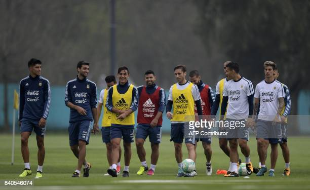Argentina's footballers attend a training session in Ezeiza Buenos Aires on August 29 2017 ahead of their FIFA World Cup qualifier football match...