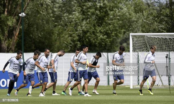 Argentina's footballers midfielder Cristian Pavon forward Paulo Dybala defender Gabriel Mercado forward Gonzalo Higuain midfielder Giovani Lo Celso...