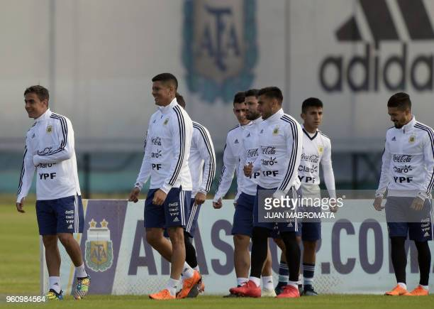 Argentina's footballers take part in a training session in Ezeiza Buenos Aires on May 21 2018 The Argentinian team is training ahead of a friendly...