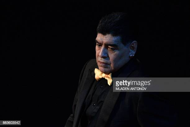 Argentina's former midfielder Diego Maradona arrives at the Final Draw for the 2018 FIFA World Cup football tournament at the State Kremlin Palace in...