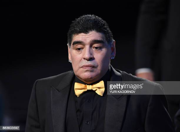 Argentina's former midfielder Diego Maradona arrives for the 2018 FIFA World Cup football tournament final draw at the State Kremlin Palace in Moscow...