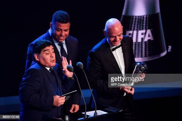 Argentina's former player Diego Maradona Brazil's former player Ronaldo Luis Nazario de Lima and FIFA president Gianni Infantino announce Real Madrid...