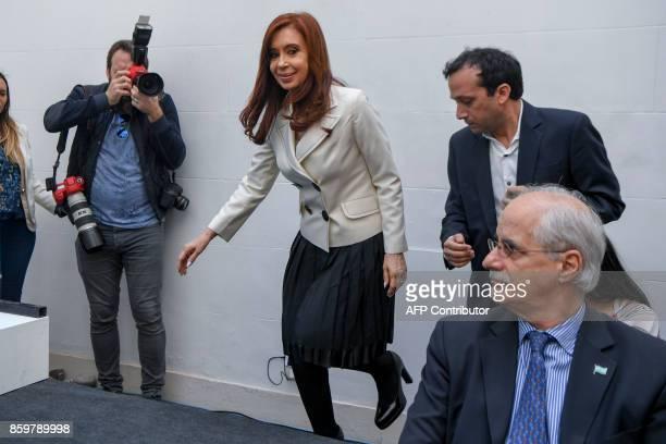 Argentina's former President and Buenos Aires senatorial candidate for the Unidad Ciudadana Party Cristina Fernandez de Kirchner arrives for a press...