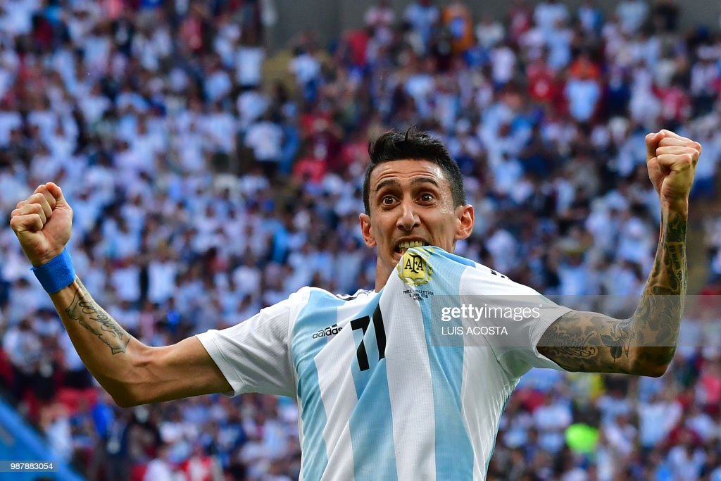 TOPSHOT - Argentina's forward Angel Di Maria celebrates a goal during the Russia 2018 World Cup round of 16 football match between France and Argentina at the Kazan Arena in Kazan on June 30, 2018. (Photo by Luis Acosta / AFP) / RESTRICTED