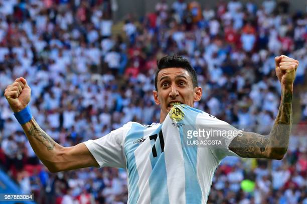 TOPSHOT Argentina's forward Angel Di Maria celebrates a goal during the Russia 2018 World Cup round of 16 football match between France and Argentina...