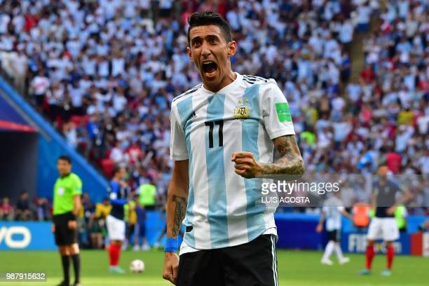 Argentina's forward Angel Di Maria celebrates a goal during the Russia 2018 World Cup round of 16 football match between France and Argentina at the...