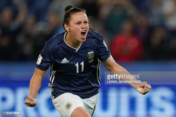 Argentina's forward Florencia Bonsegundo celebrates after scoring a goal during the France 2019 Women's World Cup Group D football match between...