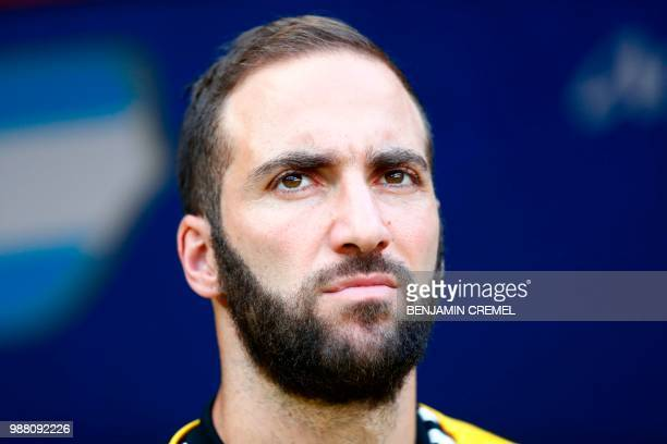 Argentina's forward Gonzalo Higuain looks on during the Russia 2018 World Cup round of 16 football match between France and Argentina at the Kazan...