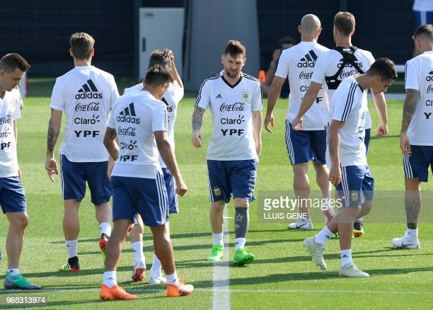 Argentina's forward Lionel Messi and teammates attends a training session of Argentina's national football team at the FC Barcelona 'Joan Gamper'...