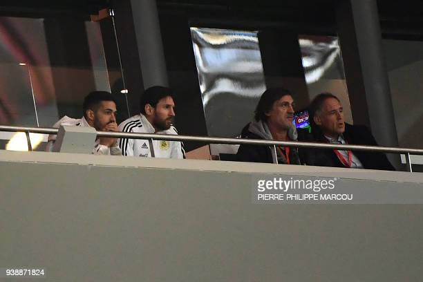 Argentina's forward Lionel Messi attends a friendly football match between Spain and Argentina at the Wanda Metropolitano Stadium in Madrid on March...