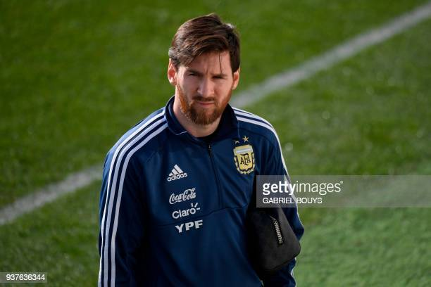 Argentina's forward Lionel Messi attends a training session in Madrid on March 25 2018 ahead of an international friendly football match between...