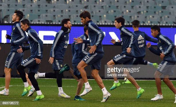 Argentina's forward Lionel Messi attends a training session in Melbourne on June 8 ahead of their football match against Brazil on June 9 / AFP PHOTO...