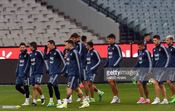 Argentina's forward Lionel Messi attends a training session with teammates in Melbourne on June 8 ahead of their match against Brazil on June 9 / AFP...