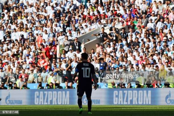 TOPSHOT Argentina's forward Lionel Messi attends the Russia 2018 World Cup Group D football match between Argentina and Iceland at the Spartak...