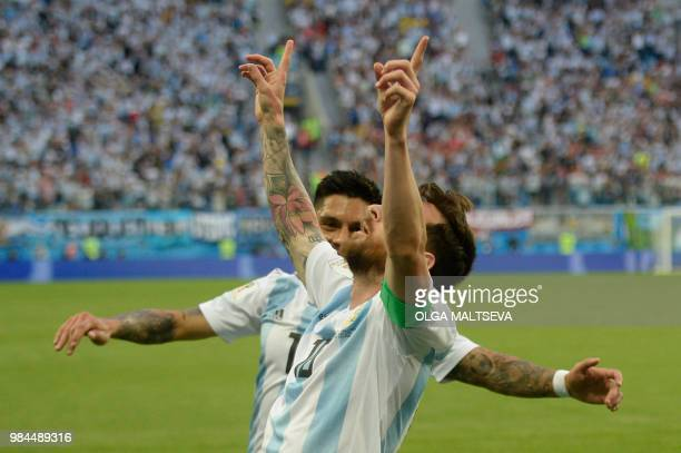 Argentina's forward Lionel Messi celebrates his goal during the Russia 2018 World Cup Group D football match between Nigeria and Argentina at the...
