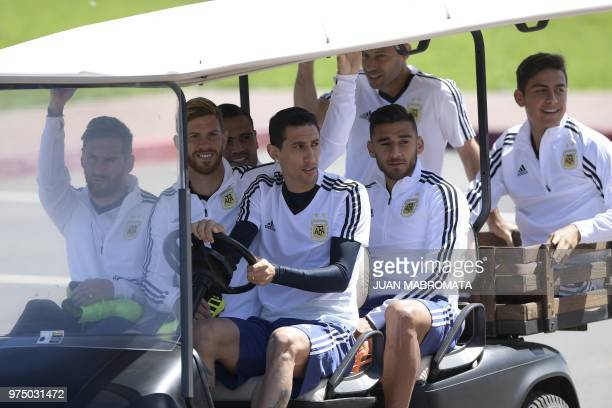 Argentina's forward Lionel Messi defender Cristian Ansaldi midfielder Angel Di Maria and midfielder Eduardo Salvio and defender Gabriel Mercado...
