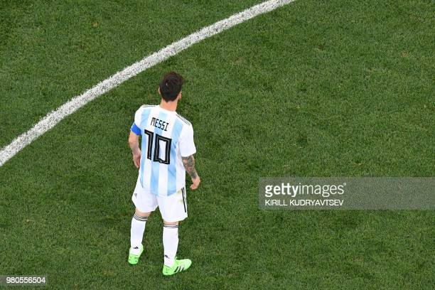 Argentina's forward Lionel Messi during the Russia 2018 World Cup Group D football match between Argentina and Croatia at the Nizhny Novgorod Stadium...