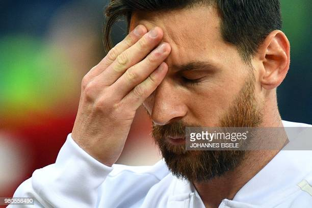 Argentina's forward Lionel Messi gestures before the Russia 2018 World Cup Group D football match between Argentina and Croatia at the Nizhny...
