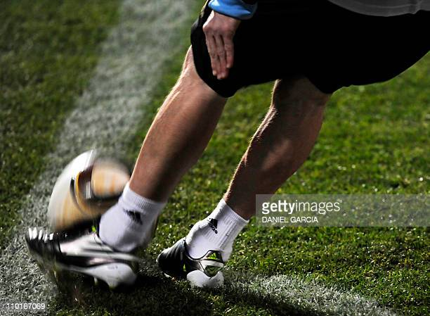 Argentina's forward Lionel Messi kicks the ball from a corner during a team training session at the University's High Performance Centre in Pretoria...