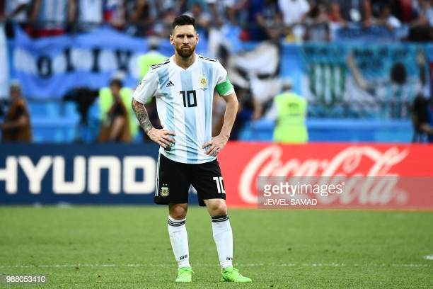 Argentina's forward Lionel Messi looks on during the Russia 2018 World Cup round of 16 football match between France and Argentina at the Kazan Arena...