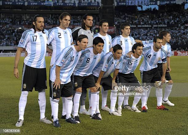 Argentina's forward Lionel Messi midfielder Enzo Perez midfielder Angel Di Maria midfielder Pablo Aimar midfielder Javier Mascherano midfielder Jonas...
