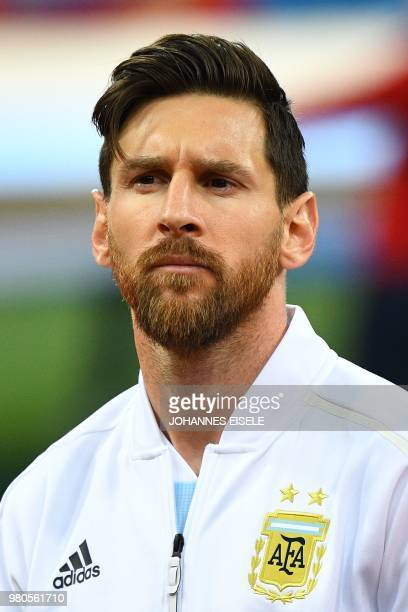 Argentina's forward Lionel Messi poses before the Russia 2018 World Cup Group D football match between Argentina and Croatia at the Nizhny Novgorod...