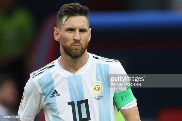 Argentina's forward Lionel Messi reacts after losing the Russia 2018 World Cup round of 16 football match between France and Argentina at the Kazan...