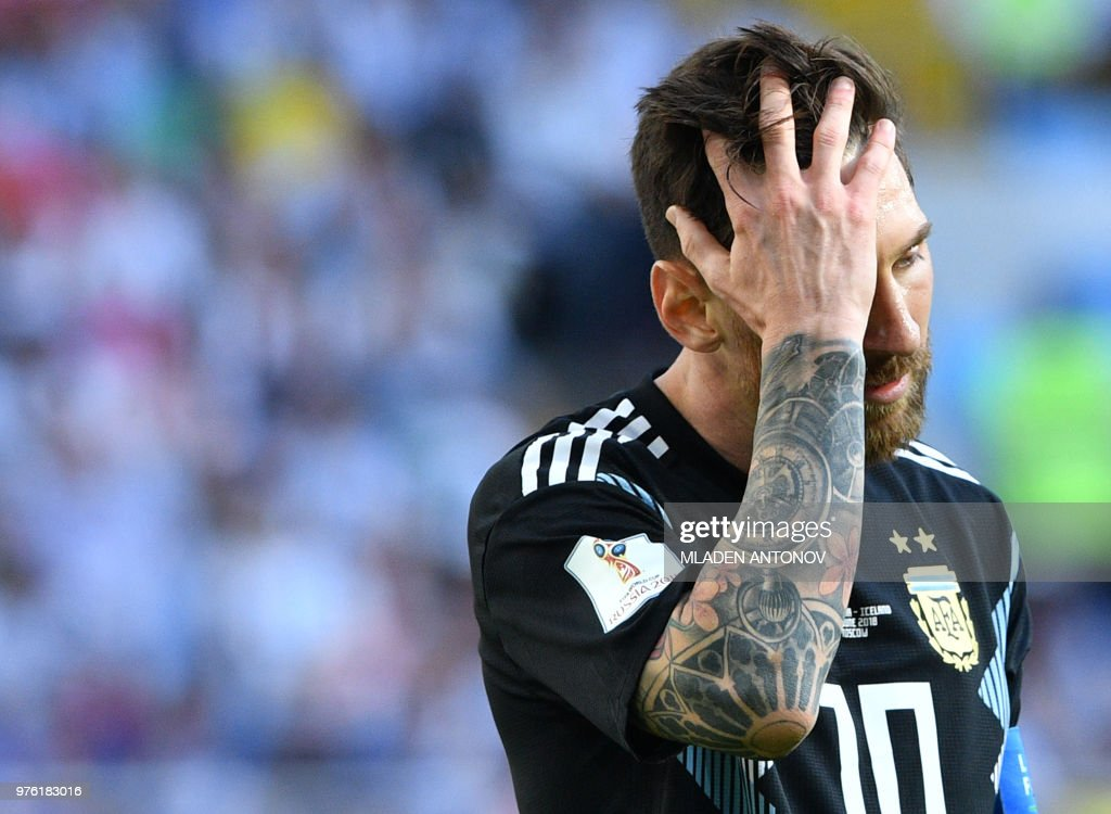 Argentina's forward Lionel Messi reacts at the end of the Russia 2018 World Cup Group D football match between Argentina and Iceland at the Spartak Stadium in Moscow on June 16, 2018. (Photo by Mladen ANTONOV / AFP) / RESTRICTED