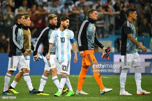 Argentina's forward Lionel Messi reacts at the end of the Russia 2018 World Cup Group D football match between Argentina and Croatia at the Nizhny...